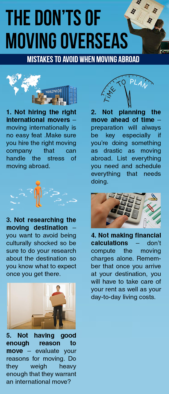 The Don'ts Of Moving Overseas
